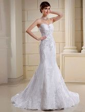Lace Euro Style White Mermaid Trumpet Strapless Sweetheart Organza Satin Wedding Dress - $154.99