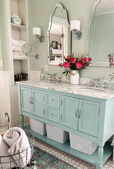 Sherwin williams sea salt, carrera marble, arched mirror, behr opal silk - www. Bathroom Renos, Laundry In Bathroom, Bathroom Interior, Small Bathroom, Bathroom Ideas, Master Bathrooms, Budget Bathroom, Bathroom Vanities, Rental Bathroom