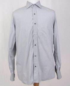 Isaia Napoli Dress Shirt XL 17 - 43 Gray 100% Light Cotton Spread Collar $425 #isaia