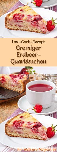 Rezept für Low Carb Erdbeer-Quarkkuchen: Der kohlenhydratarme, kalorienreduzierte Kuchen wird ohne Zucker und Getreidemehl zubereitet ... #lowcarb #kuchen #backen