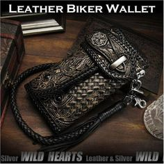 Carved Leather 3/Tri-fold Biker Wallet Python Onyx Silver Concho Wallet chain WILD HEARTS Leather&Silver (ID lw2459)