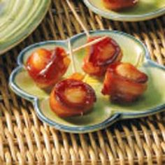 Bacon wrapped water chestnuts with Peach baby food sauce. Wrap Recipes, Baby Food Recipes, Snack Recipes, Keto Recipes, Peach Recipes For Babies, Bacon Wrapped Water Chestnuts, Bacon Wrapped Appetizers, Chestnut Recipes, Warm Food