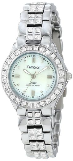 Armitron Women's 75/3689MPSV Swarovski Crystal Accented Silver-Tone Bracelet Watch >>> Click image for more details.