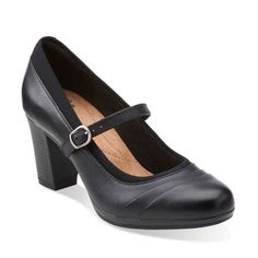 Brynn Ivy Black Leather - Clarks Womens Shoes - Womens Heels and Flats - Clarks - Clarks® Shoes