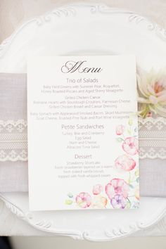 Tea party bridal shower the definition of elegant charm wedding showers parties photos bridal shower menu with flower motif stopboris