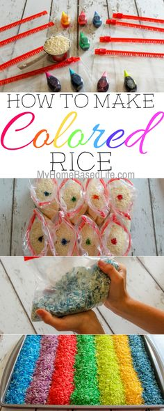 We decided to get crazy around here and it was so much fun I'm going to show you How to make Colored Rice. It's so simple and takes mere minutes. #coloredrice #kidsactivity #sensoryplay #parenting | Parenting | Parenting Fun | Sensory Play for kids | Sensory Tools | How To | Easy Kids Activity | Simple Activities for Kids | Boredom Buster Idea | via @myhomebasedlife