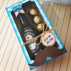 Alcohol Gift Baskets, Gift Baskets For Men, Homemade Gifts, Diy Gifts, Flower Box Gift, Chocolate Bouquet, Diy Gift Box, Party In A Box, Cheap Gifts