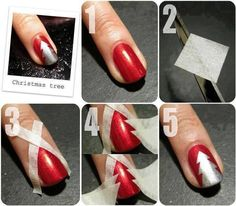 Easy DIY Christmas nail art designs tutorials step by step to make Christmas tree nail art, Santa nail art and candy canes nail art at home Christmas Tree Nail Art, Cute Christmas Nails, Xmas Nails, Simple Christmas, Christmas Trees, Silver Christmas, Christmas Manicure, Christmas Night, Chistmas Nails