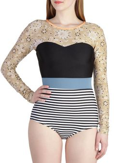 $134.99, Soak Up the Fun One Piece, #ModCloth: A long-sleeved bathing suit: awesome!!