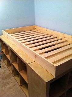 Ideas Under Bed Storage Ideas Ikea Hackers Mattress Hack Ikea, Ikea Loft Bed Hack, Diy Bett, Under Bed Storage, Bed Frame Diy Storage, Loft Bed Storage, Diy Twin Bed Frame, High Bed Frame, Raised Bed Frame