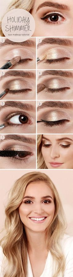 Step by step - How to do a slightly smoky, shimmery eye look in a few short steps. It's very romantic, it would be great for a date :)