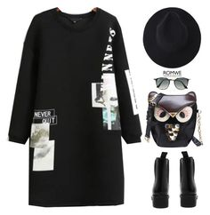 """""""All in black"""" by gabygirafe ❤ liked on Polyvore featuring Ray-Ban"""