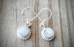 Sterling Silver Moonstone Earrings - Rainbow Moonstone Jewelry - June Birthstone Jewelry