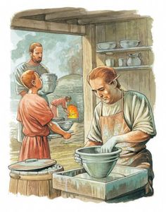 An ancient Roman potter works on a wheel   Q Files