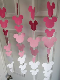Pink Minnie Mouse Style Garland Strand, Birthday Party Decorations, Mickey Mouse Themed Party Decorations. $22.00, via Etsy.