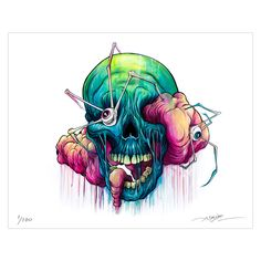 The inspiring portfolio of artwork by Alex Pardee Alex Pardee, The Used, Art And Illustration, Gothic Drawings, Art Drawings, John Kenn, Pop Surrealism, Skull And Bones, Psychedelic Art