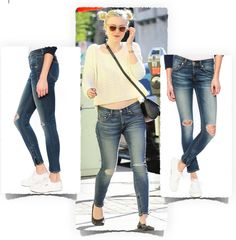 Dakota Fanning in Rag & Bone Ripped Blue Jeans - it is now $159.20 USD using sale code MOM20 at the SINGER22 website.