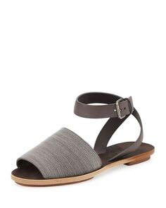 X2HFG Brunello Cucinelli Beaded Ankle-Strap Flat Sandal