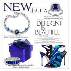 """""""Square Royal Blue Zircon Women's Ring"""" by allanaaa11 ❤ liked on Polyvore featuring Sergio Rossi, women's clothing, women, female, woman, misses, juniors, jewelry and jeulia"""