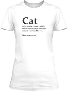 Cat Definition White T-Shirt Front