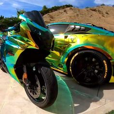 Vette Bike or Corvette? Cool Sports Cars, Sport Cars, Cool Cars, Porsche 918 Spyder, Porsche 911, Automobile, Lamborghini Veneno, Ferrari 458, Fancy Cars