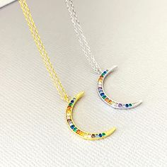 Moon Necklace, Multi colors Stone Crescent Necklace, Gold Moon Necklace, Rainbow Moon Necklace, Gift for Her - TheTellMeWhy Gold Pendant Necklace, Moon Necklace, Star Necklace, Choker Jewelry, Interlocking Circle Necklace, Crescent Necklace, Diamond Solitaire Necklace, Engraved Jewelry, Pear Shaped Diamond