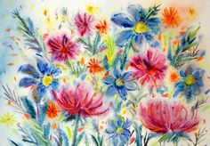 Summer Day - Original Watercolour Painting 8,2 × 11,6 inches Summer Flowers by…