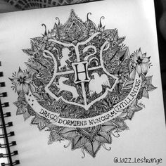 Ideas Drawing Ideas Harry Potter Hogwarts For 2019 Harry Potter Tattoos, Harry Potter Drawings, Harry Potter Fan Art, Mandala Art Lesson, Mandala Drawing, Drawing Art, Drawing Ideas, Art Drawings, Harry Potter Deathly Hallows