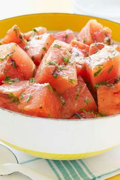 Grilled watermelon topped with olive oil & feta
