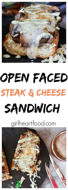 Perfectly cooked steak, buttery mushrooms and lots of cheese top a crispy baguette. Then, it's drizzled with a lemon infused arugula sauce - girlheartfood.com #steaksandwich #steakandcheesesandwich #openfacedsandwich