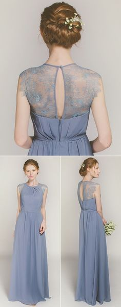 Graceful Long Chiffon Bridesmaid Dress with Lace Back TBQP369