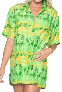 Women's Palm Tree Hawaiian Button Down Casual Hawaiian Blouse Aloha Shirt Green *** See this great image  : summer fashion