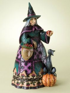 """Wicked To The Core"" Witch Holding Apple - Jim Shore Halloween 4022895 