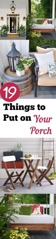 DIY front porch, front porch projects, DIY porch decor, DIY home projects, home… Outdoor Rooms, Outdoor Gardens, Outdoor Living, Outdoor Decor, Outdoor Venues, Outdoor Ideas, Sweet Home, Outside Living, Decks And Porches