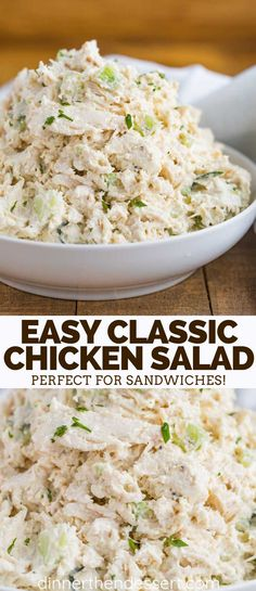 Classic Chicken Salad is the PERFECT combo of seasoned chicken breast, creamy mayonnaise, lemon juice, crunchy celery, and almonds, ready in just minutes!