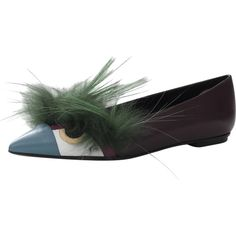 Fendi Bugs Monster Flat (830 CHF) ❤ liked on Polyvore featuring shoes, flats, multi colored shoes, pointy toe flats, pointed toe shoes and flat pumps