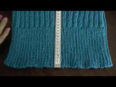 ▶ Cuello en dos agujas en punto elástico - YouTube