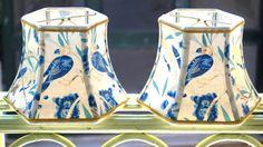 Bird Lamp Shade Lampshade French vintage fabric by lampshadelady