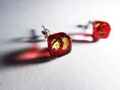 Handmade Liuli Glass Art- Ice Square- RedGold - Artisan Fused Glass Square Earrings- Sterling Silver