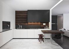 Cucina bianca e nera dal design moderno 05