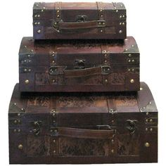 Leather & Wood Veneer Dome Trunks >Great for storing jewelry, nail polish, and make up! Living Room Crafts, Hobby Lobby Decor, Board Game Storage, Wood Trunk, Rock Decor, Decorative Storage, Wood Storage, Centerpiece Decorations, Wood Veneer