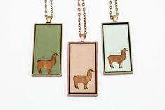 Llama / Alpaca Pendant - Engraved Wooden Cameo Necklace Featuring Farm Animal Silhouette (Custom Made / Personalized) - Gifts for Her