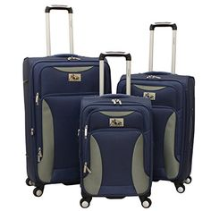 Chariot Bari 3 Piece Lightweight Upright Spinner Luggage Set Navy Grey One Size >>> Details can be found by clicking on the image.