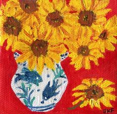 Sunflowers mini canvas art, acrylic painting, Easel. Sunflowers in blue and white vase, small sunflowers still life, sunflower decor an original acrylic painting by the artist, Sharon Foster - ME! A Mississippi artist. 3 inches tall by 3 inches wide- no staples on the side. Painting continues on sides. The canvas for this little painting is not exactly square. The bottom is a wee bit wider than the top. All rights for the painting stay with the artist, Sharon Foster (c)2015-2016 #15…