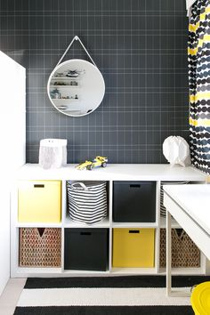 Black, white and yellow, Marimekko curtains, Claesson-Koivisto-Rune wallpaper, Ikea Lack in boy's room Ikea Lack, Building A New Home, Marimekko, Home Office, Playroom, Mid-century Modern, Living Spaces, Kids Room, Sweet Home