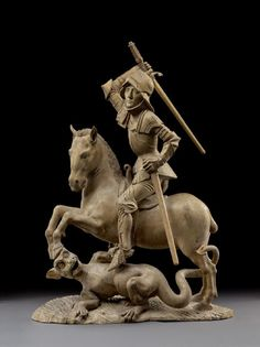 Borrower of the Night. Saint George Slaying the Dragon - Tilman Riemenschneider - - Linden wood . Renaissance Artworks, Saint George And The Dragon, African Sculptures, Dinosaur Art, Medieval Art, Sacred Art, Museum, Monster, Berlin