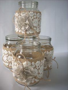 Rustic Wedding Burlap Jar,Rustic wedding decor, Lace and burlap jar, burlap centerpiece, country home decor,wedding jars