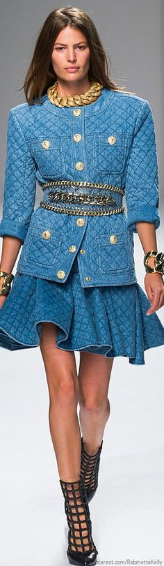 Balmain | S/S 2014♥✤ | KeepSmiling | BeStayBeautiful - quilted denim suit jacket and pleated skirt with belt