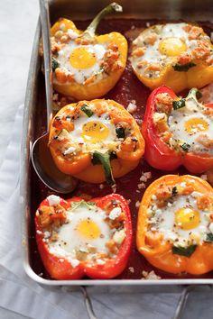 Baked Eggs in Stuffed Peppers. Great no-starch breakfast idea