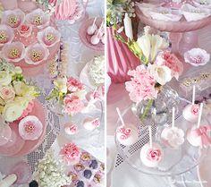 Lima Limão - festas com charme: Muitas rosas para o batizado da Constança! Macarons, Roses, Sweets, Romantic, Table Decorations, Cake, Party, Beautiful, Parties
